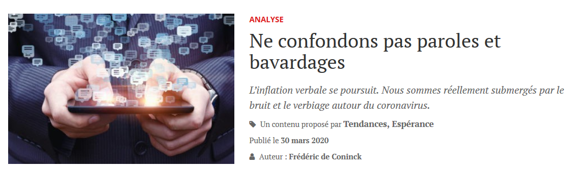 Ne confondons pas paroles et bavardages
